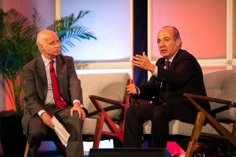 Felipe Calderon addressed the intersection of economic growth and tackling climate change at EarthxMexico in Dallas. (Photo: Business Wire)