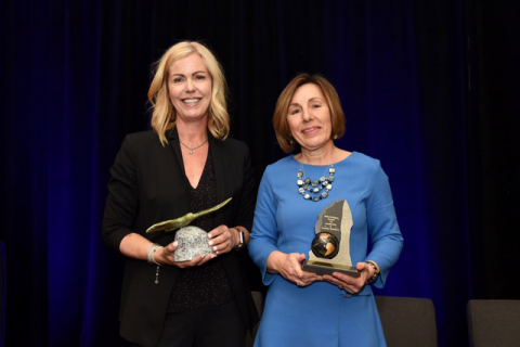 Meghan Brown, the recipient of the 2019 Award for Excellence in Investor Relations, and Laurie Gaborit, the recipient of the 2019 Belle Mulligan Award for Leadership in Investor Relations, were honoured at CIRI's Annual Conference in Halifax. (Photo: Business Wire)