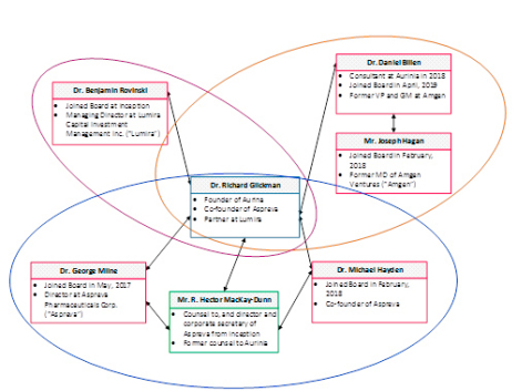 Aurinia Board of Directors Web of Interconnected Relationships (Graphic: Business Wire)