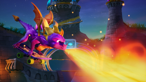 The Spyro Reignited Trilogy is debuting on Nintendo Switch and PC via Steam on September 3, 2019. In the Enchanted Towers Skate park level of Spyro 3: Year of The Dragon (as seen above on PC), Spyro's flames are hotter than ever! (Graphic: Business Wire)