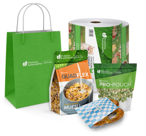 ProActive Sustainability products are currently available in: Stand Up Pouches, Quad Seal Pouches, Sandwich Wrap, Handled Shoppers and Rollstock (Photo: Business Wire)