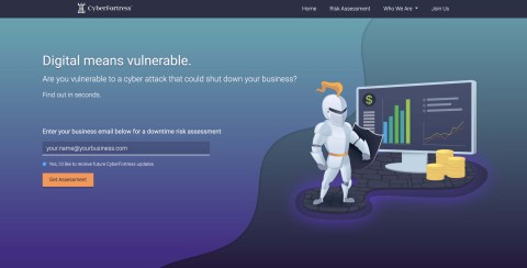 CyberFortress Risk Assessment Landing Page (Photo: Business Wire)