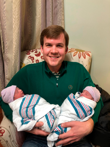 Unum employee John Gandy recently took 6 weeks of paid parental leave after the adoption of his twin ...