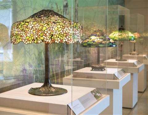 Louis Comfort Tiffany's Shade Garden, a new exhibition organized by The Neustadt Collection of Tiffany Glass, on view at Montefiore Medical Center's Hutchinson Campus, Bronx. Photo: Jesse Winter