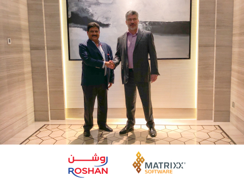 Roshan CEO Karim Khoja and MATRIXX Software CEO Dave Labuda shake hands following the signing ceremony of their new partnership. (Photo: Business Wire)