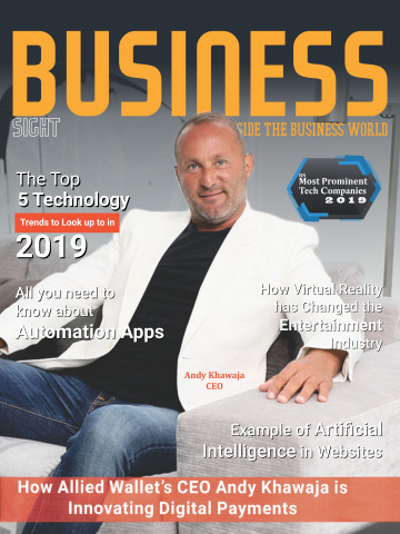 Dr. Andy Khawaja of Allied Wallet on the cover of Business Sight magazine. (Photo: Business Wire)