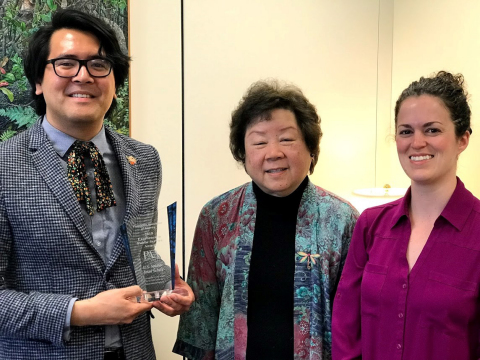 Legislative Assistant Trelaine Ito, Former PAA President Amy Tsui, and Sociologist Mieke Beth Thomeer accept the 2019 PAA Excellence in Public Service Award on behalf of U.S. Senator Brian Schatz (D-Hawai'i). (Photo: Business Wire)