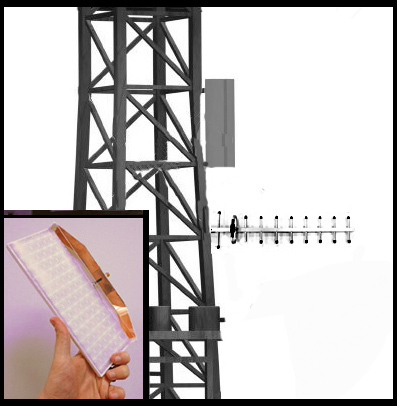Fractal Antenna Systems' breakthrough metablade(TM) antenna technology gives directional needs, new options, and applications. A tower mount comparison to a Yagi antenna. Inset shows a WiFi metablade(TM) with inside cut away. Patent pending. (Photo: Business Wire)