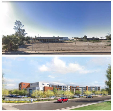 Above: The current infill lot of 1980 East Broadway Rd. Below: A rendering of Virtua Partner's completed project (Photo: Business Wire)