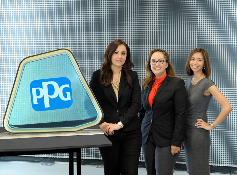 An aircraft flight-deck window with PPG SOLARON BLUE PROTECTION™ UV+ blocking technology is shown with the developers and marketing lead of the breakthrough solution that helps protect aircrews, passengers and aircraft interiors from solar radiation. They are (from left) Fatima Emami, PPG research and development materials engineer, aerospace; Christina Baker, PPG global materials technology manager, aerospace; and Barbara Flocchini, PPG segment manager, commercial original-equipment transparencies, aerospace. (Photo: Business Wire)