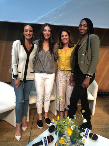 Catt Sadler, Hilary Knight, Julie Foudy, and Venus Williams celebrate women's equality and recognize the U.S. Women's National Soccer Team players at the LUNA Bar Someday Is Now Salon at the Eiffel Tower in Paris. (Photo: Business Wire)