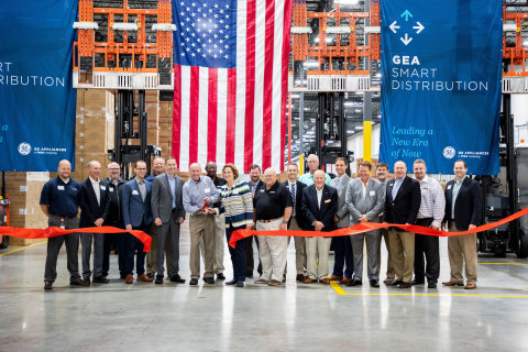 GE Appliances leaders officially cut the ribbon for the company's new smart warehouse in Commerce, G ...
