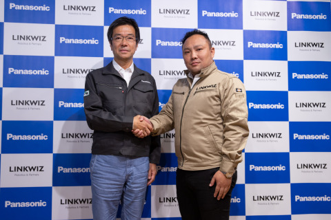 Yasu Higuchi, CEO of Panasonic's Connected Solutions Company (left) and Go Fukino, President of Link ...