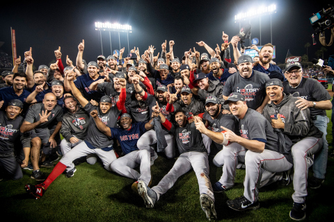 Members of the Boston Red Sox pose after winning the 2018 World Series in game five against the Los Angeles Dodgers on October 28, 2018 at Dodger Stadium in Los Angeles, California. (Photo by Billie Weiss/Boston Red Sox/Getty Images)