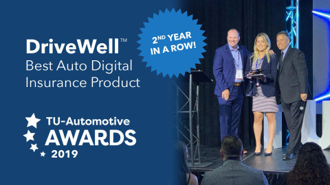 Cambridge Mobile Telematics DriveWell wins Best Auto Digital Insurance Product at the 2019 TU-Automotive Awards for the 2nd year in a row (Photo: Business Wire)