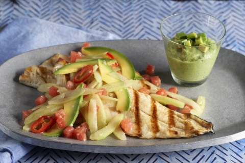 Grilled Trout with California Avocado-Watermelon Slaw and Green Goddess Dressing (Photo: Business Wire)