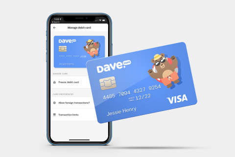 Dave Banking app and debit card (Graphic: Business Wire)
