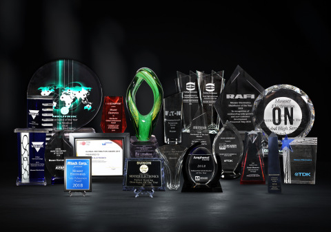 Mouser Electronics has been recognized with a record 40 top business awards from its manufacturer partners for exemplary performance during 2018 and 2019. Mouser received the awards for a variety of accomplishments, including double-digit sales growth, best-in-class global logistics, and fastest new product introductions. (Photo: Business Wire)