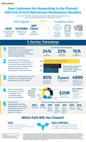 Survey of SAP Licensees Reveals Two-Thirds Have No Plans or Are Undecided About Migrating to New S/4HANA Product (Graphic: Business Wire)