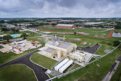 Pictured here, new central plant with microgrid and island mode capability providing 3.5 MW of elect ...