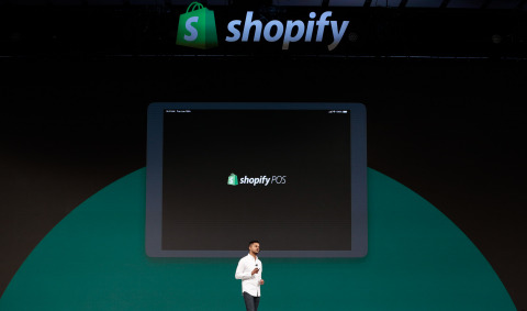 Arpan Podduturi, Shopify's Director of Product, Retail, announces the new Shopify point of sale (POS) software at the company's annual partner conference, Shopify Unite, in Toronto, Canada on June 19, 2019. (Photo: Shopify)