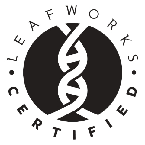 LeafWorks-Certification seal guarantees the authenticity of cannabis, hemp, and herbal products, and offers a verifiable solution for supply chain consistency, security in the event of recalls, and builds brand equity (Graphic: Business Wire)