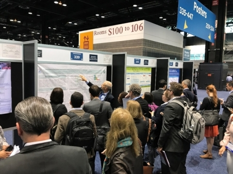 "Brian Hall, Vice President of Business Development, IASO Bio, presents ""Clinical Responses and Pharmacokinetics of Fully-human BCMA Targeting CAR-T Cell Therapy in Relapsed/refractory Multiple Myeloma"" at the ASCO Annual Meeting 2019 in Chicago, Illinois. (Photo: Business Wire)"