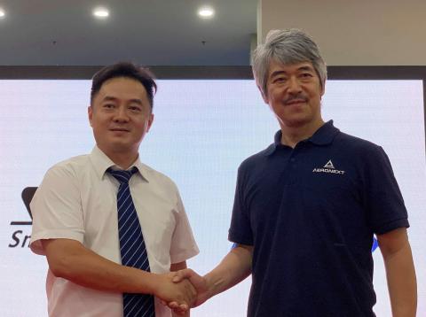 From photo right Aeronext President/CEO Keisuke Toji, SMD President Edward Jin (Photo: Business Wire ...