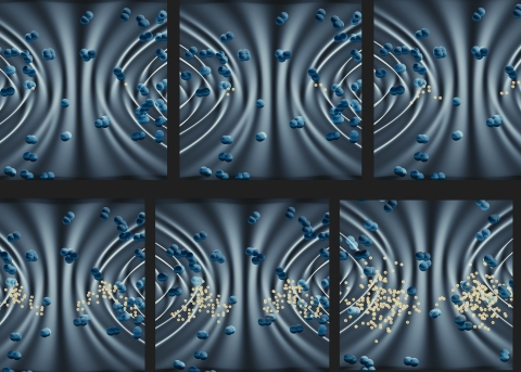 Artistic rendering of the avalanche process. Initial electrons present in the laser focus (black/white background) are accelerated and gain sufficient energy to liberate electrons from neutral air molecules (shown in blue). With time, the process repeats in a cascade, leading to a breakdown spark with many free electrons in the vicinity of each seed electron. Credit: E. Edwards/JQI
