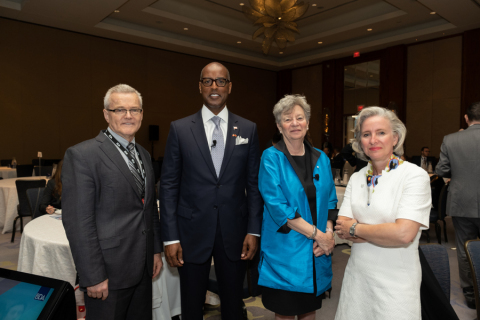 From left, Andrew Shisko, Senior Director, Canadian Commercial Corporation (CCC); Bermuda Finance Minister Curtis Dickinson; Consul General of Canada in New York Phyllis Yaffe; Honorary Consul of Canada in Bermuda, Isabelle Ramsay-Brackstone (Photo: Business Wire)