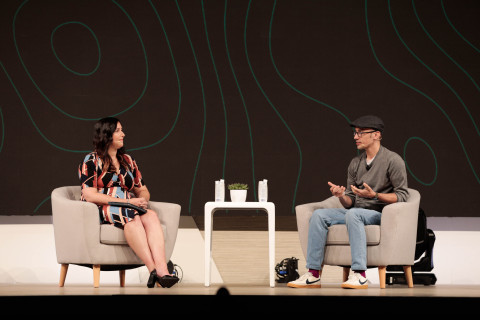 CEO Tobi Lutke sits down with Cara Hogan of Zaius for a fireside chat at the company's annual partner conference, Shopify Unite, in Toronto, Canada on June 19, 2019. (Photo: Shopify)