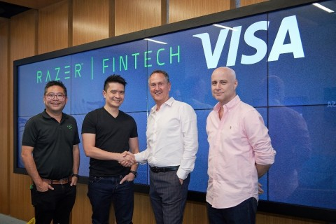 Razer and Visa partner to transform payments in Southeast Asia. From left: Limeng Lee (Chief Strategy Officer, Razer), Min-Liang Tan (Co-founder and CEO, Razer), Chris Clark (Regional President, Asia Pacific, Visa), Cietan Kitney (Head of Asia Pacific Solutions, Visa) (Photo: Business Wire)