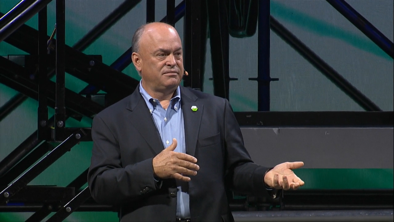 PTC President and CEO Jim Heppelmann begins his keynote speech at the LiveWorx 2019 conference.