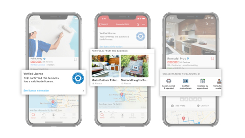 Businesses can now customize their Yelp page to attract new customers with Business Highlights, Portfolio and Yelp Verified License. (Graphic: Business Wire)
