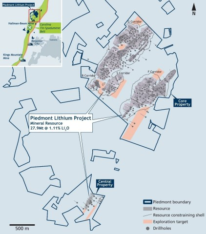 Figure 1:  Piedmont Lithium Project Showing Resource, Resource Shells and New Exploration Target Areas (Graphic: Business Wire)