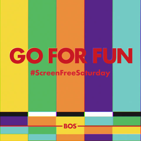 BOS Brands Launches #ScreenFreeSaturday as part of Global 'GO FOR FUN' Marketing Campaign Tuesday, June 25, 2019. Campaign visuals are inspired by old television color cards and bright, slim cans of BOS Iced Tea. (Graphic: Business Wire)