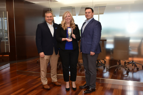 Jeff Bentley, President and CEO of Northwest Federal Credit Union with Heather Devers, AVP Card Operations and Alex Lane, SVP Operations (Photo: Business Wire)
