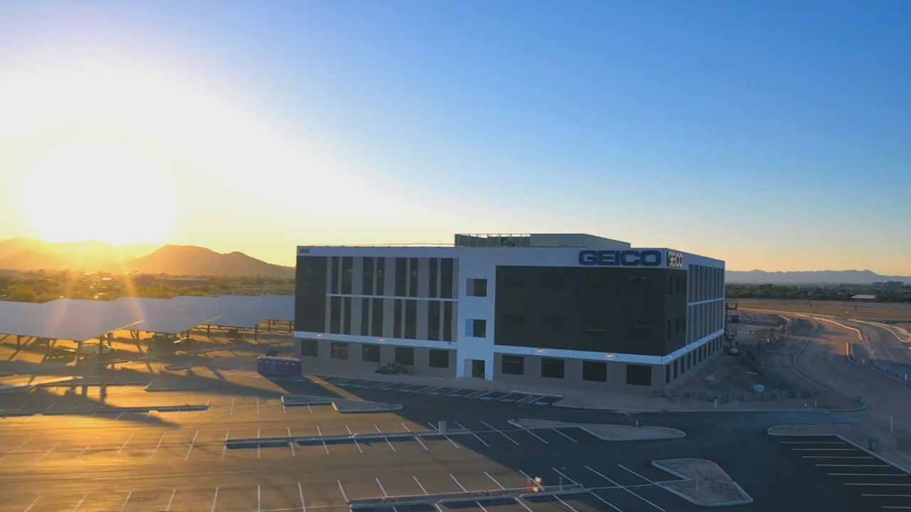 Aerial footage of GEICO's new Tucson office located at 3050 S. Martin Luther King Jr. Way in The Bridges.