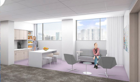 Rendering of a portion of the Chicago Institute for Fetal Health family lounge dedicated to NRG in recognition of its $1 million commitment to Lurie Children's Hospital (Photo: Business Wire)