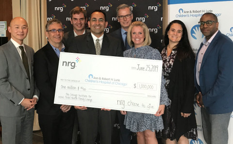 NRG commits $1 million to Lurie Children's Hospital of Chicago as part of its Choose to Give plan Tuesday evening, June 25th, 2019. Left to Right: Chen Chang, Lurie Children's, Bill Naglosky, NRG, Dave Schrader, NRG, Dr. Aimen Shaaban, Lurie Children's, Dr. Grant Stirling, Lurie Children's, Keri Murschell, NRG, Stephanie Kueffner, NRG, Melville Nickerson, NRG (Photo: Business Wire)