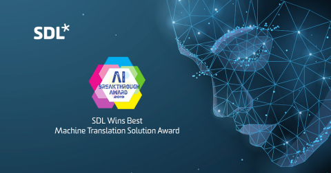 Hai, SDL's linguistic AI™, Recognized for Machine Translation Innovation in 2019 (Graphic: Business Wire)