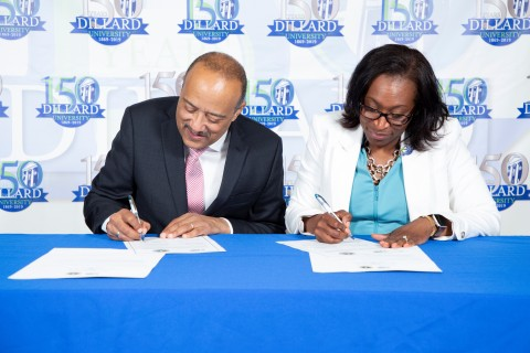 L-R, Ross University School of Medicine Dean and Chancellor, Dr. William F. Owen, Jr., M.D., FACP and Dillard University's Vice President of Academic Affairs, Dr. Yolanda Page, Ph.D. (Photo: Business Wire)