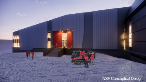 An archival conceptual design of the main entrance to the central services facility to be built in McMurdo as part of the Antarctic Infrastructure Modernization for Science (AIMS) [future.usap.gov] effort. Subsequent design refinements are expected to replace, and may already have superseded, this concept. (Photo: Business Wire)