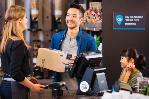 Amazon Hub Counter launches in the U.S. giving customers another quick and easy way to pick up Amazon packages (Photo: Business Wire)