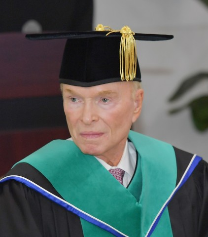 Gene E. Phillips of Dallas, Texas accepts honorary doctorate in Real Estate Studies from Konkuk University in Seoul, Korea. (Photo: Business Wire)