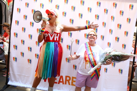 Our WorldPride emcee Tina introduces company Grand Marshal Doreen Milich, a PVH associate who was at New York City's Stonewall 50 years ago.