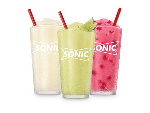 SONIC's new Mocktail Slushes - Piña Colada (left), Reaper Spicy Margarita (center), Strawberry Daiquiri (right) (Photo: Business Wire)