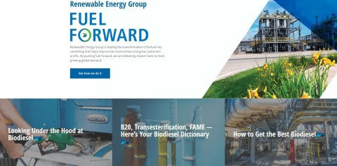 Renewable Energy Group's new website homepage serves as a source for educational, product and technical information on cleaner fuels. (Photo: Business Wire)