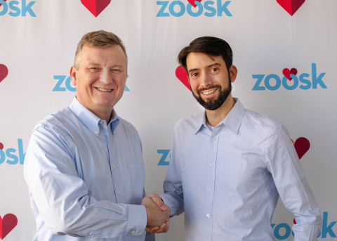 Jeronimo Folgueira (right), CEO of Spark Networks, confirms the acquisition with Steven McArthur (left), outgoing CEO of Zoosk, Inc (Photo: Business Wire)