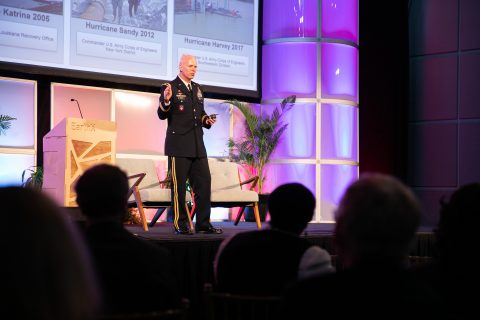 Brigadier General Paul E. Owen, Commander and Division Engineer, Southwestern Division, U.S. Army Corps of Engineers, discussed disaster response and recovery at EarthxMilitary. (Photo: Business Wire)